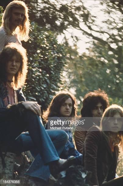 English progressive rock group Yes United Kingdom 1974 From topleft to right drummer Alan White bassist Chris Squire singer Jon Anderson Swiss...
