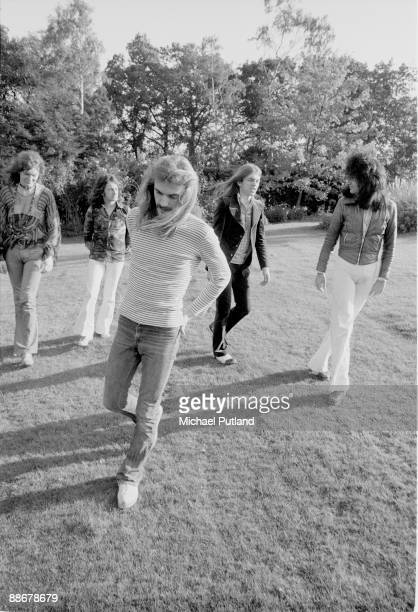 English progressive rock group Yes United Kingdom 1974 Left to right bassist Chris Squire singer Jon Anderson drummer Alan White guitarist Steve Howe...