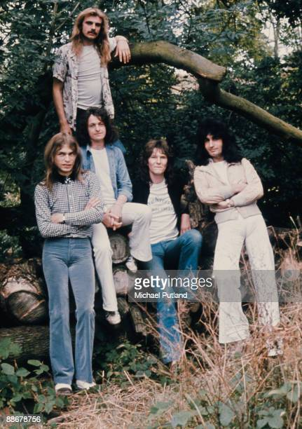 English progressive rock group Yes United Kingdom 1974 Left to right guitarist Steve Howe drummer Alan White singer Jon Anderson bassist Chris Squire...