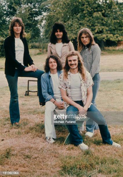 English progressive rock group Yes United Kingdom 1974 Standing left to right bassist Chris Squire keyboard player Patrick Moraz and guitarist Steve...
