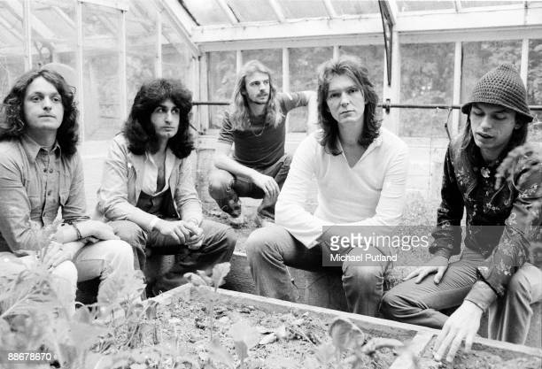 English progressive rock group Yes United Kingdom circa 1975 Left to right singer Jon Anderson Swiss keyboard player Patrick Moraz drummer Alan White...