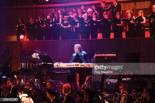 English progressive rock musician Rick Wakeman performing live on stage with Rick Wakeman at Royal Festival Hall in London, on July 14, 2019.
