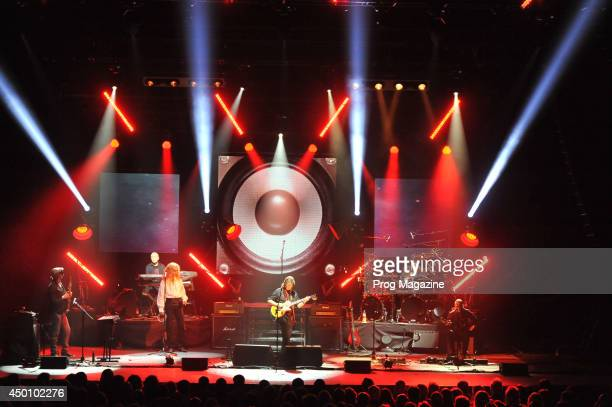 English progressive rock musician Steve Hackett performing live on stage with his band at the Hammersmith Apollo in London during the 2013 Genesis...
