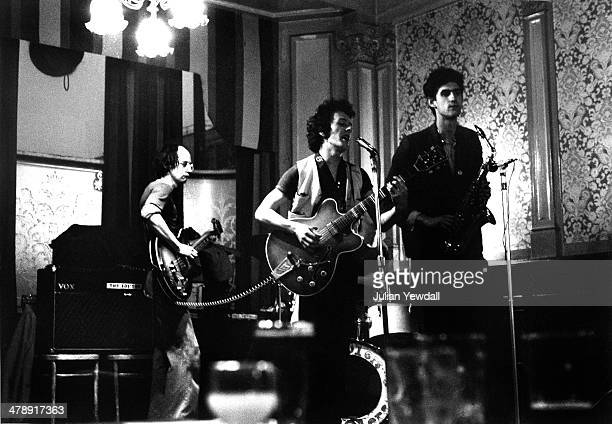 English pub rock group The 101ers play The Elgin pub Ladbroke Grove London 1975 Left to right 'Mole' on bass Joe Strummer on vocals and rhythm guitar...