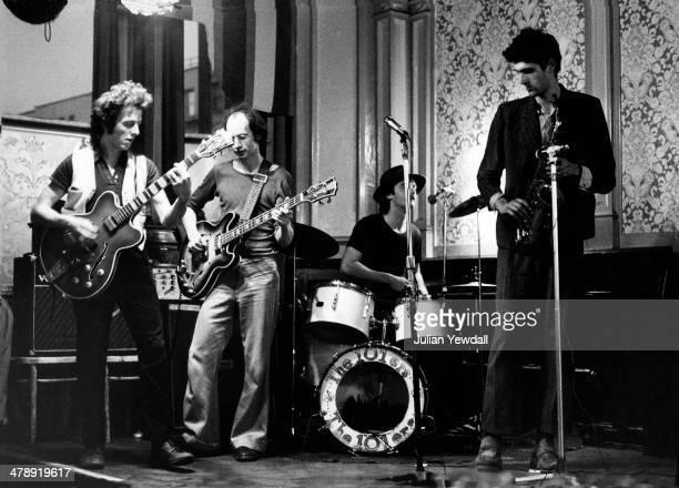 English pub rock group The 101ers play The Elgin pub Ladbroke Grove London 1975 Left to right Joe Strummer 'Mole' Richard 'Snakehips' Dudansk and...