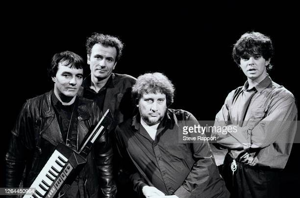 English Punk and Rock group the Stranglers filming the 'Always The Sun' music video, London, 8/14/1986. Pictured are, from left, Dave Greenfield,...