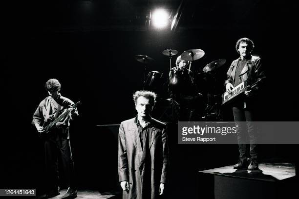 English Punk and Rock group the Stranglers filming the 'Always The Sun' music video, London, 8/14/1986. Pictured are, from left, Jean-Jacques Burnel,...