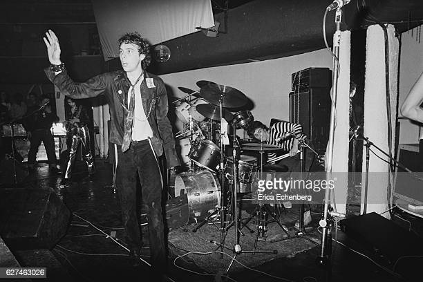 English punk band The Adverts performs on stage London United Kingdom 1977 LR Gaye Advert TV Smith Laurie Driver