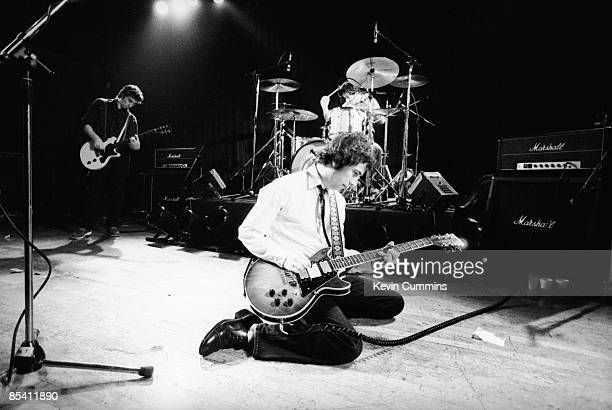 English punk band The Buzzcocks on stage at Liverpool University 2nd October 1979 Left to right guitarist Steve Diggle singer Pete Shelley and...