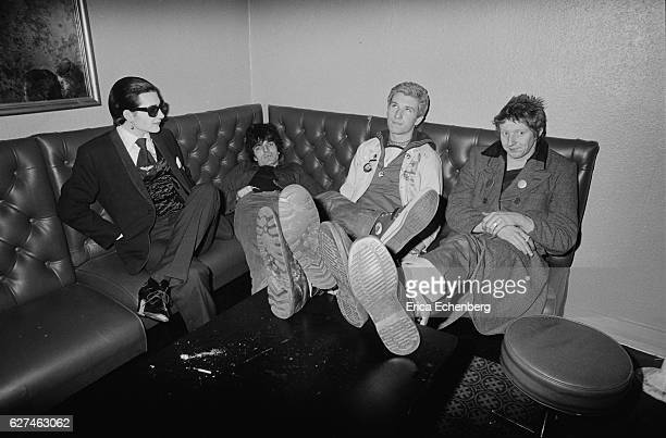 English punk band The Damned at the Roxy Club London United Kingdom 1976 LR Dave Vanian Brian James Rat Scabies