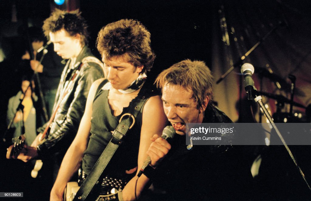 English punk band the Sex Pistols at Ivanhoe's, Huddersfield, on Christmas day 1977. Left to right: bassist Sid Vicious (Simon Ritchie, 1957 - 1979), guitarist Steve Jones and singer Johnny Rotten (aka John Lydon).