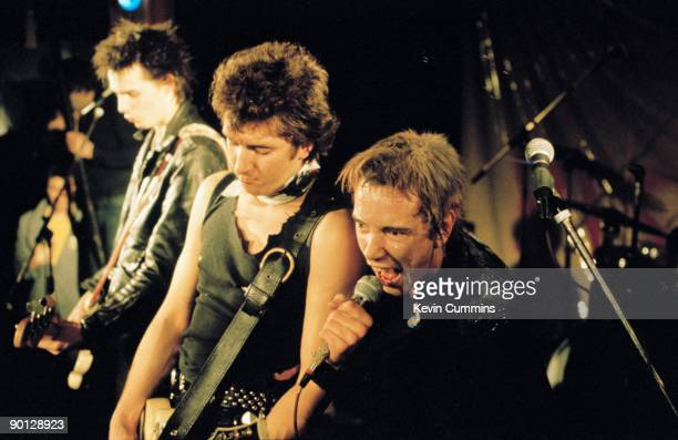 English punk band the Sex Pistols at Ivanhoe's Huddersfield on Christmas day 1977 Left to right bassist Sid Vicious guitarist Steve Jones and singer...