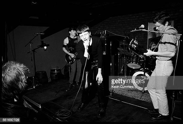 English punk band Warsaw performing at Rafters nightclub in Oxford Street Manchester 30th June 1977 Left to right Peter Hook Ian Curtis and Bernard...
