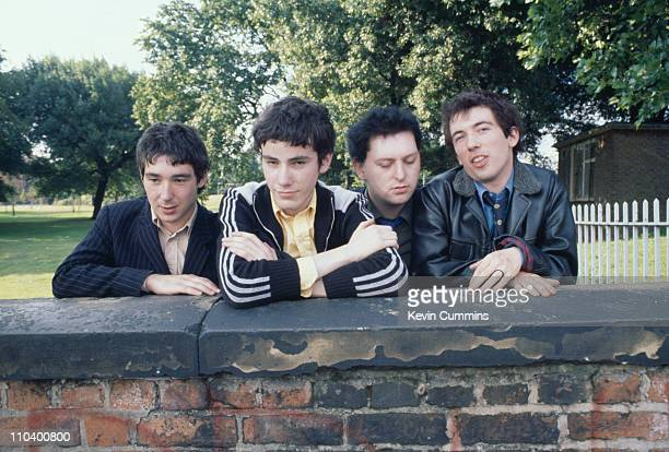 English punk group Buzzcocks 1977 Left to right guitarist Steve Diggle drummer John Maher bassist Garth Smith and singer Pete Shelley