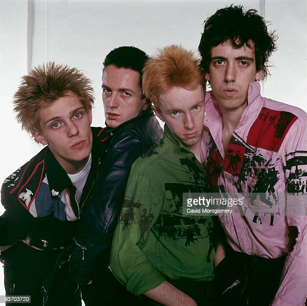English punk group The Clash, circa 1977. Left to right: bassist Paul Simenon, singer Joe Strummer , drummer Topper Headon and guitarist Mick Jones.