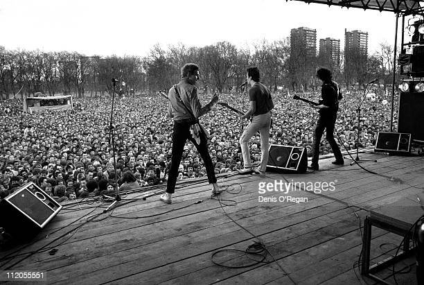 English punk group The Clash performing at an AntiNazi League event in Victoria Park London 30th April 1978 Left to right Paul Simonon Joe Strummer...