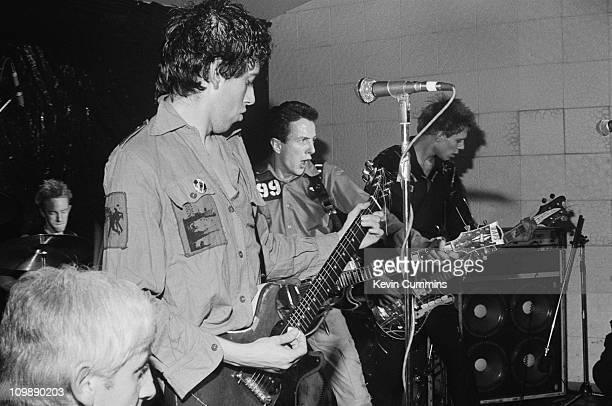 English punk group The Clash performing at the Electric Circus, Manchester, 8th May 1977. Left to right: Mick Jones, Joe Strummer and Paul Simonon.