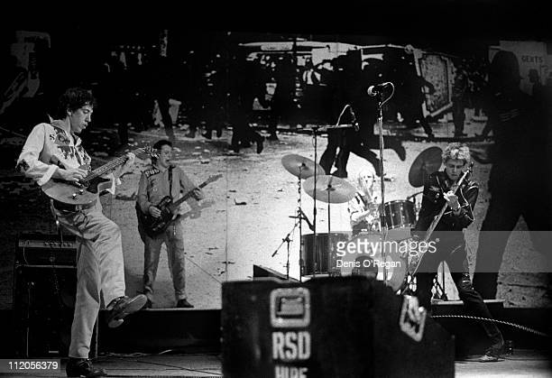 English punk group The Clash performing at the Rainbow Theatre London 1977 Left to right Mick Jones Joe Strummer Topper Headon and Paul Simonon