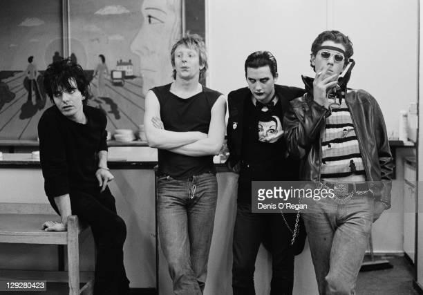 English punk group The Damned Finchley London 1976 Left to right guitarist Brian James drummer Rat Scabies singer Dave Vanian and bassist Captain...