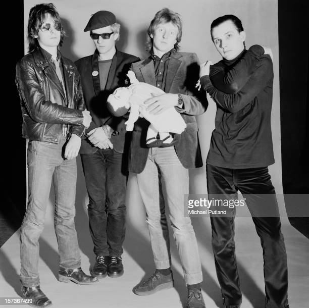 English punk group The Damned October 1980 Left to right bassist Algy Ward guitarist Captain Sensible drummer Rat Scabies and singer Dave Vanian