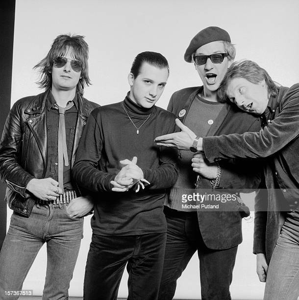 English punk group The Damned October 1980 Left to right bassist Algy Ward singer Dave Vanian guitarist Captain Sensible and drummer Rat Scabies