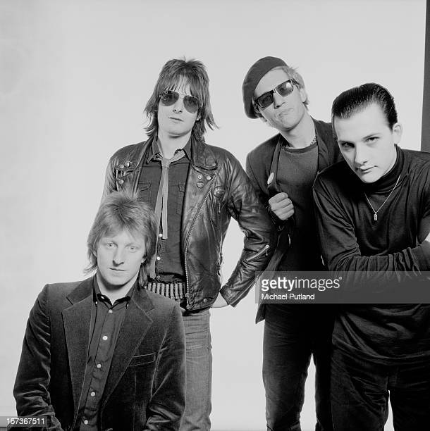 English punk group The Damned October 1980 Left to right drummer Rat Scabies bassist Algy Ward guitarist Captain Sensible and singer Dave Vanian
