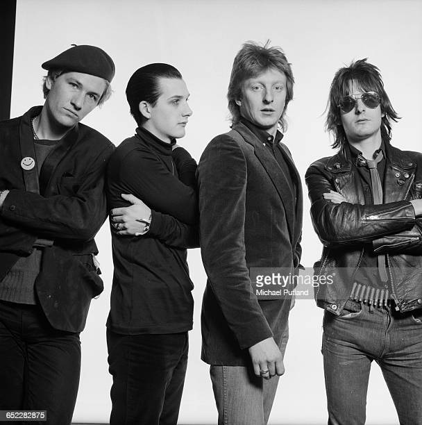 English punk group The Damned October 1980 Left to right guitarist Captain Sensible singer Dave Vanian drummer Rat Scabies and bassist Algy Ward
