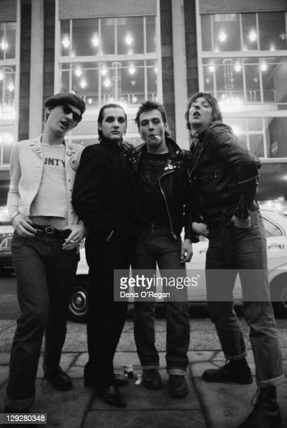 English punk group The Damned outside the Fairfield Hall Croydon London circa 1978 Left to right guitarist Captain Sensible singer Dave Vanian...