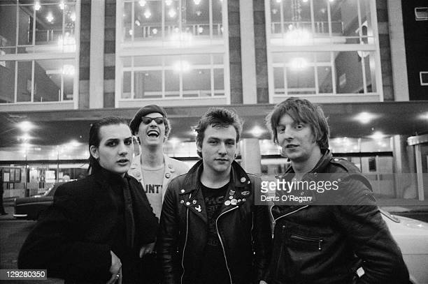 English punk group The Damned outside the Fairfield Hall Croydon London circa 1978 Left to right singer Dave Vanian guitarist Captain Sensible...