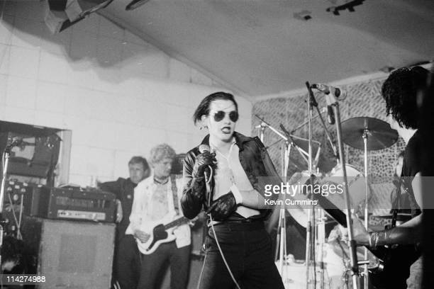 English punk group The Damned performing at the Electric Circus Manchester 26th June 1977 Left to right Captain Sensible Dave Vanian and Brian James...