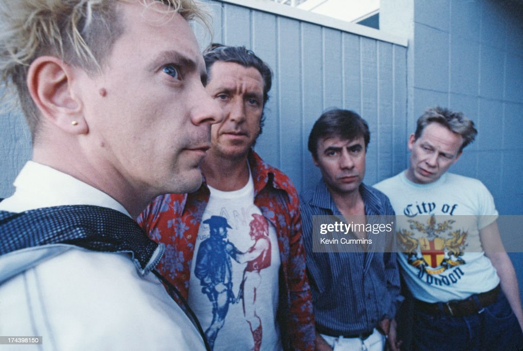 English punk group the Sex Pistols during their Filthy Lucre reunion tour, 1996. Left to right: singer John Lydon, guitarist Steve Jones, bassist Glen Matlock and drummer Paul Cook.