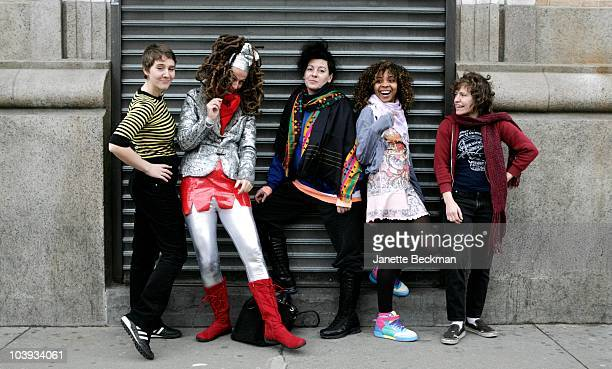 English punk group The Slits pose for a group portrait outside the Mercury Lounge venue New York 5th March 2008 Left to right Anna Schulte Ari Up...