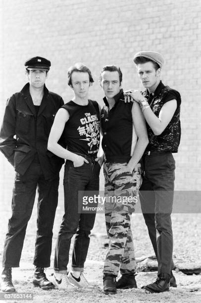 English punk rock band The Clash Members of the band are guitarist Mick Jones drummer Nicky Headon Singer Joe Strummer and bassist Paul Simonon 21st...