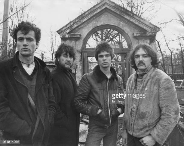 English punk rock band The Stranglers, 1977. From left to right, they are Hugh Cornwell, Jet Black, Jean-Jacques Burnel and Dave Greenfield.