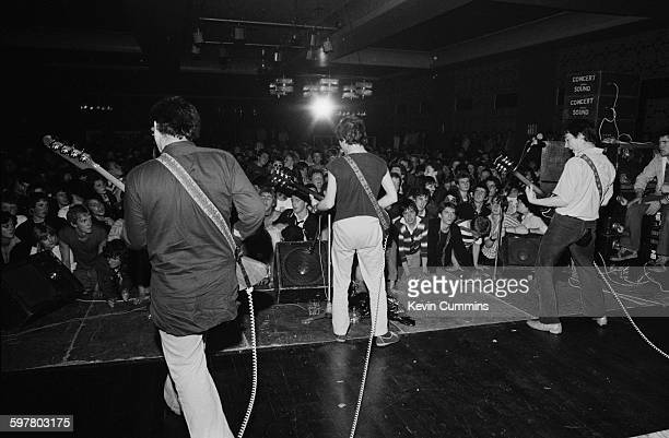 English punk rock group Buzzcocks performing at the Greyhound in Croydon 4th September 1977 Left to right Garth Smith Pete Shelley and Steve Diggle