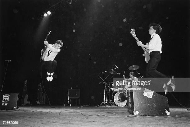 English punk/mod group The Jam on stage at the Rainbow Theatre London 10th May 1977 Left to right Paul Weller Rick Buckler and Bruce Foxton Punk...