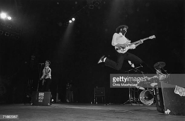 English punk/mod group The Jam on stage at the Rainbow Theatre London 10th May 1977 Left to right Paul Weller Bruce Foxton and Rick Buckler Punk...