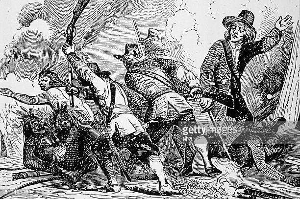 1637 English puritan settlers fighting the Pequot in the first major war between native Americans and settlers