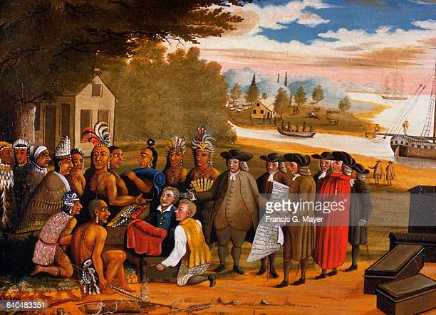 English Quaker leader and founder of Pennsylvania colony, William Penn, establishes friendly relations with Native American tribes during his visit...