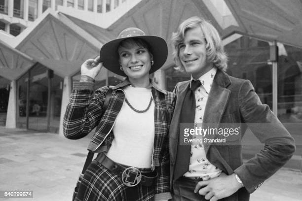 English racing driver James Hunt with his first wife British model and actress Suzy Miller UK 2nd January 1975