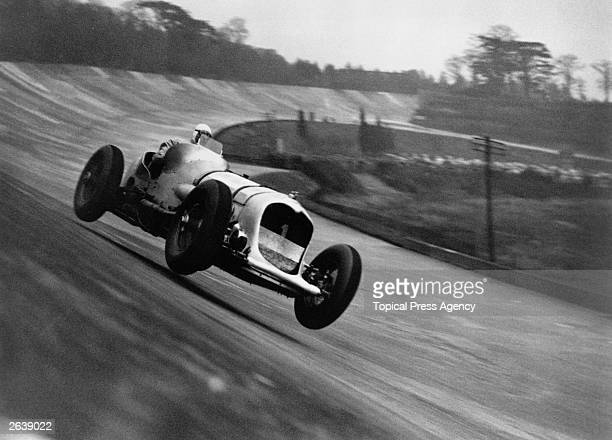 English racing driver John Cobb competing in the Broadcast Trophy Handicap race at Brooklands racetrack Weybridge Surrey which he went on to win
