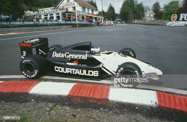 English racing driver Jonathan Palmer drives the Data General Team Tyrrell Tyrrell DG016 Ford Cosworth DFZ 35 V8 in the 1987 Belgian Grand Prix at...