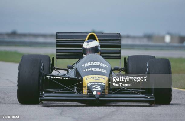 English racing driver Jonathan Palmer drives the Tyrrell Racing Organisation Tyrrell 017 Ford Cosworth DFZ 35 V8 in the 1988 Brazilian Grand Prix at...