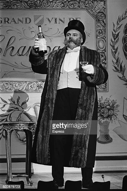English radio and television comedy script writer and actor Jimmy Edwards during the recording of a television show for Winston Curchill's 90th...