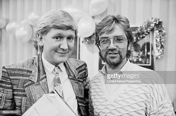 English radio and television presenters Mike Smith and Noel Edmonds pictured at a BBC press call in London on 5th December 1985