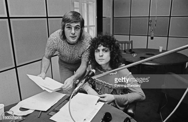 English radio DJ Robbie Vincent with singer Marc Bolan of T. Rex, UK, 8th September 1972.