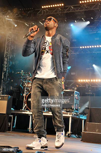 English rapper and MC Tinie Tempah performs on stage during day one of BBC Radio 1's Big Weekend on May 22, 2010 in Bangor, Wales.