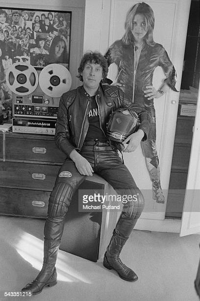 English record producer Mickie Most at the headquarters of his record label RAK Records London 27th February 1975 Behind him is a Teac A3300 reelto...