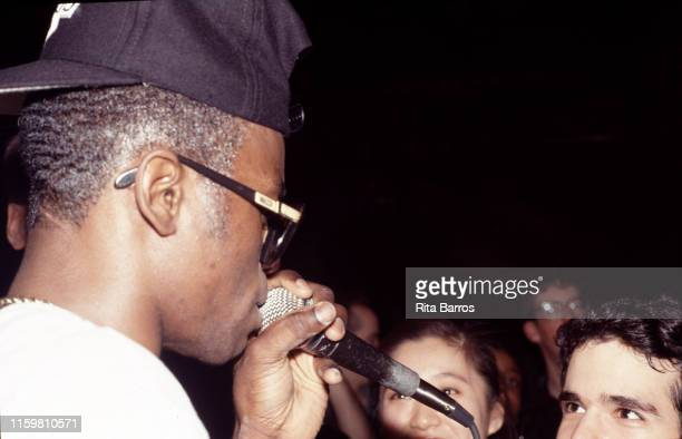 English Reggae musician and rapper Shinehead performs onstage at Club Kilimanjaro, New York, New York, February 23, 1990.