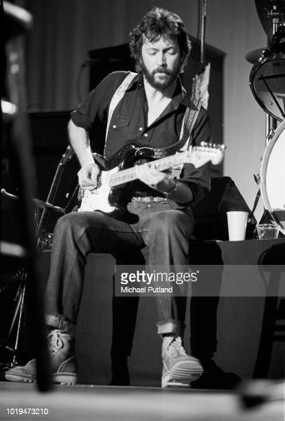 English rock and blues guitarist singer and songwriter Eric Clapton performs on stage in Seattle United States March 1974